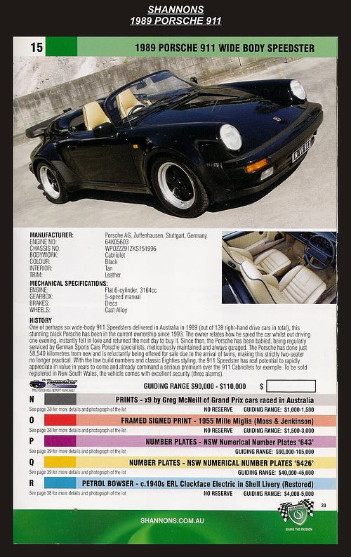 1989 Porsche 911 Wide Body Speedster